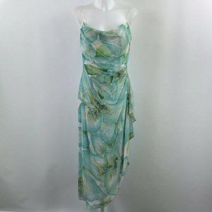 Kay Unger Green Beaded Strap Dress Size 8